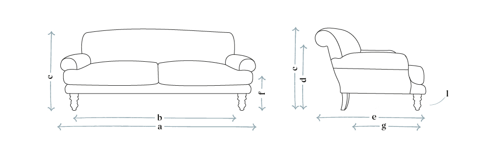 Saturday Three Seat Sofa (Breaks Down Into Four Parts) in Evergreen Brushed Linen Cotton